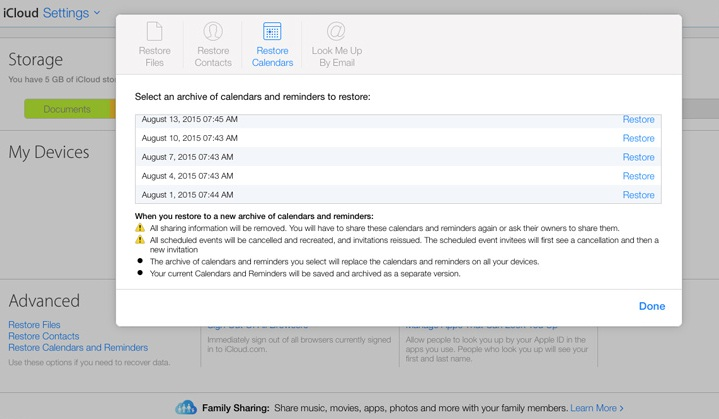 Restore Documents, Contacts and Calendar in iCloud