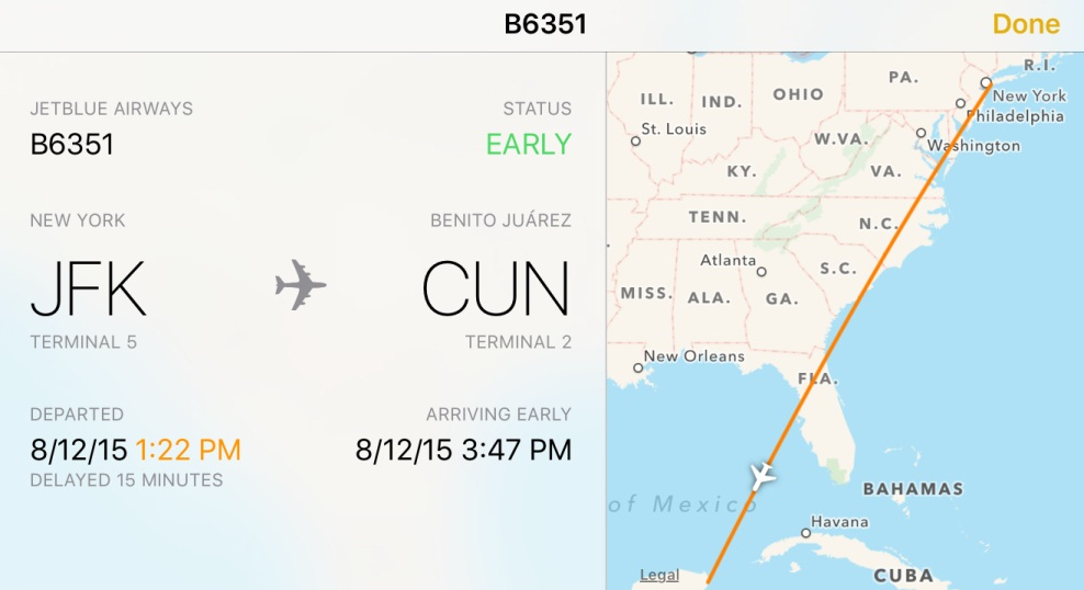 IOS 9 Flight Schedules