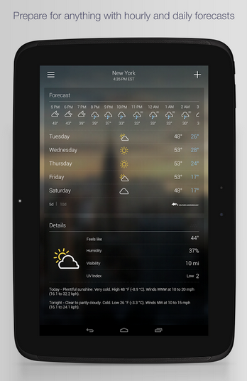 yahoo weather app
