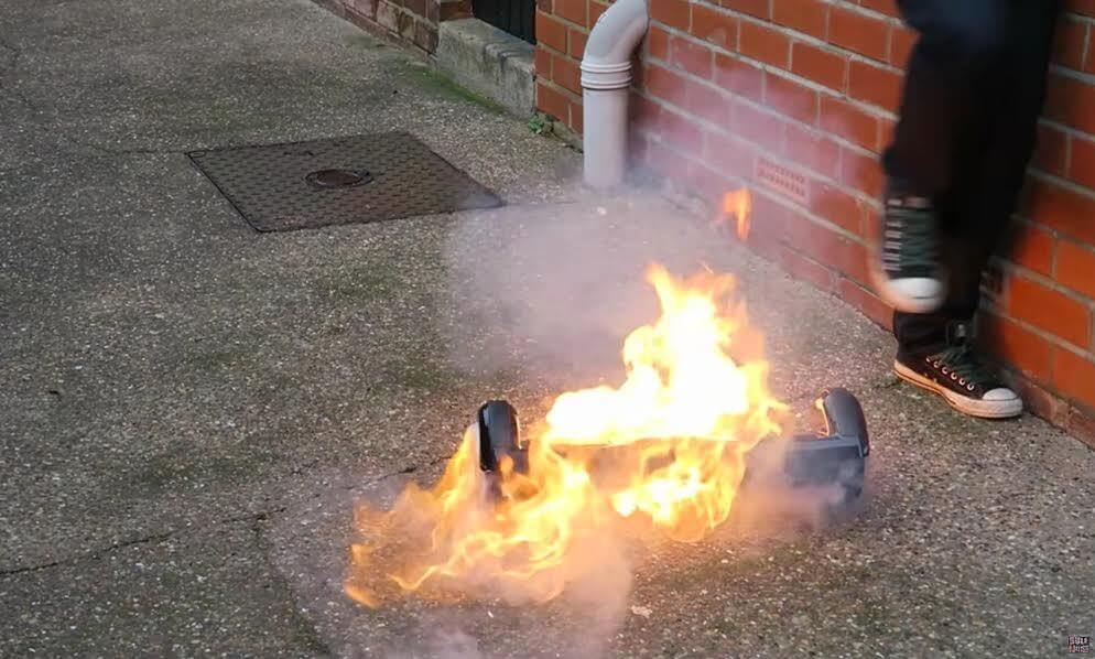 burning hoverboard