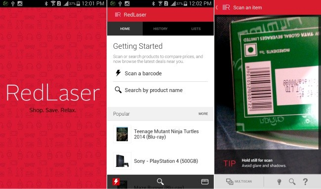 red laser barcode scanner for android