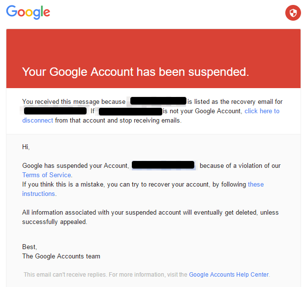 notice of account suspended