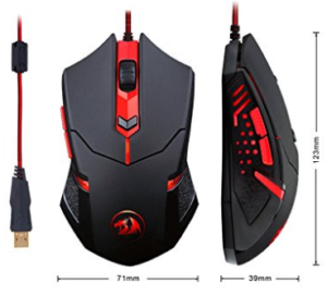Redragon M601 Gaming Mouse wired with red led image 1